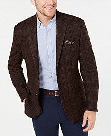 Men's Classic-Fit UltraFlex Stretch Brown Plaid Sport Coat