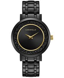 Caravelle Designed by Bulova Women's Crystal Black Stainless Steel Bracelet Watch 36mm