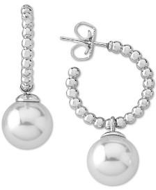 Majorica Sterling Silver Pearl (8mm) Extra Small Hoop Earrings