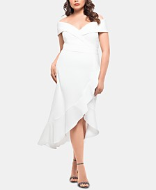 XSCAPE Plus Size Ruffled Off-The-Shoulder Dress