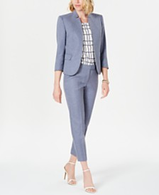 Anne Klein Open-Front Jacket, Printed Top & Cropped Pants