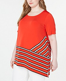Plus Size Striped Asymmetric Top