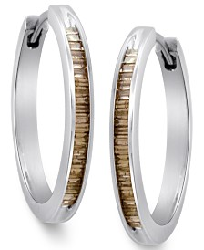 Sterling Silver Earrings, Champagne Diamond Baguette Hoop Earrings (1/4 ct. t.w.)