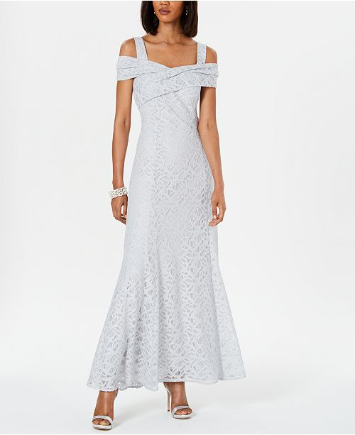 Tahari ASL Cold-Shoulder Lace Gown