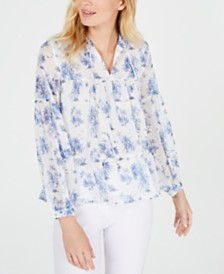 Tommy Hilfiger Floral-Print Tiered Top, Created for Macy's