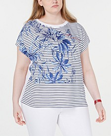 Plus Size Palm Striped Top, Created for Macy's