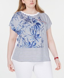 Tommy Hilfiger Plus Size Palm Striped Top, Created for Macy's