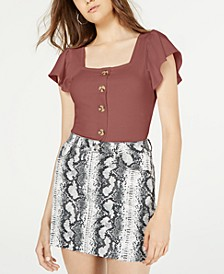 Juniors' Flutter-Sleeved Rib-Knit Top