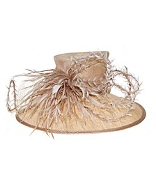 Natural Down Brim Hat with Twisted Feathers