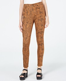 Rewash Juniors' Stevie High-Rise Animal-Print Skinny Jeans