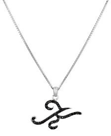 "Sterling Silver Necklace, Black Diamond ""K"" Initial Pendant (1/4 ct. t.w.)"
