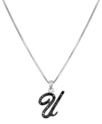 "Sterling Silver Necklace, Black Diamond ""U"" Initial Pendant (1/4 ct. t.w.)"