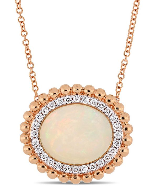 "Macy's Opal (5 ct. t.w.) and Diamond (1/4 ct. t.w.) 17"" Necklace in 14k Rose Gold"