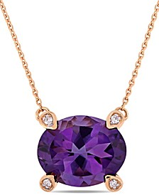 "Amethyst (2-3/8 ct.t.w.) and Diamond Accent 17"" Necklace in 10k Rose Gold"