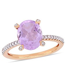 Amethyst (2-3/8 ct.t.w.) and Diamond (1/10 ct.t.w.) Ring in 10k Rose Gold