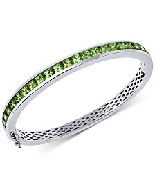 Peridot Bangle Bracelet (7 ct. t.w.) in Sterling Silver(also available in Citrine, Garnet, Blue Topaz , Amethyst, & Multi Stone)
