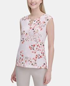 Calvin Klein Floral-Print Keyhole-Neck Top
