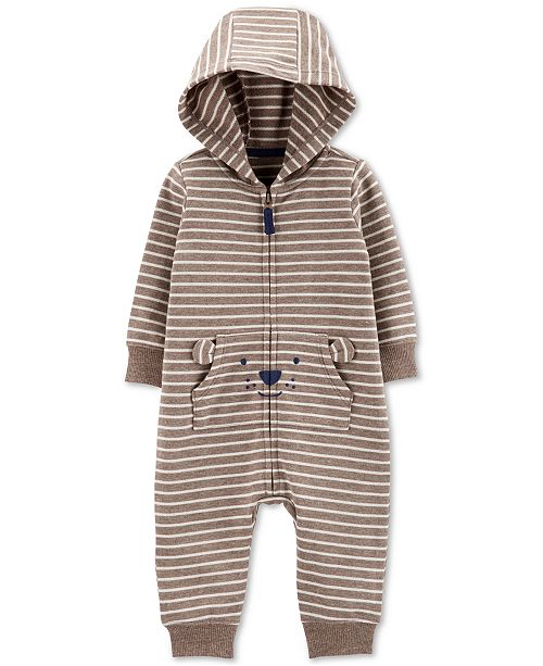 Carter's Baby Boys Striped Hooded Bear Coverall