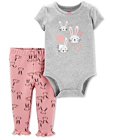 Baby Girls 2-Pc. Bunny Bodysuit & Leggings Cotton Set