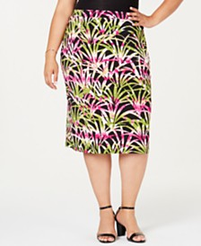 Kasper Plus Size Printed Pull-On Skirt
