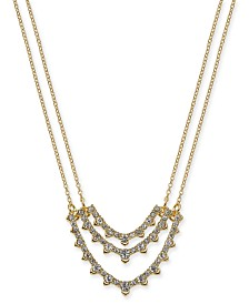 "I.N.C. Gold-Tone Crystal Double-Chain Pendant Necklace, 16"" + 3"" extender, Created for Macy's"