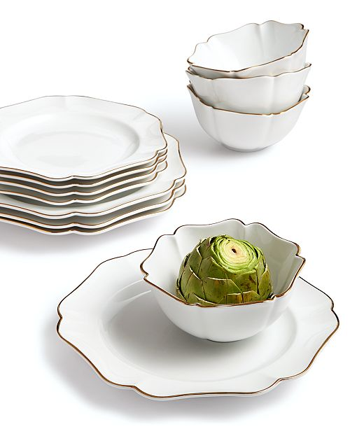 Martha Stewart Collection 12-Pc. Baroque Dinnerware Set, Service for 4, Created for Macy's