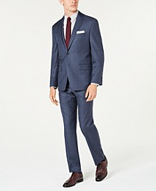 Men's Classic-Fit Airsoft Stretch Blue Windowpane Suit Separates