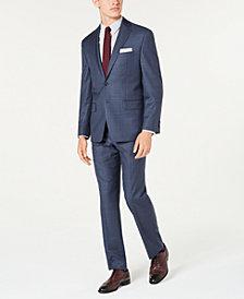 Michael Kors Men's Classic-Fit Airsoft Stretch Blue Windowpane Suit Separates