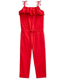 Polo Ralph Lauren Little Girls Eyelet Cotton Batiste Jumpsuit