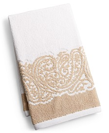 "CLOSEOUT! Gianna Paisley Border Cotton 16"" x 28"" Hand Towel, Created for Macy's"
