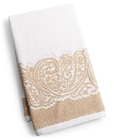 """CLOSEOUT! Martex Gianna Paisley Border Cotton 16"""" x 28"""" Hand Towel, Created for Macy's"""