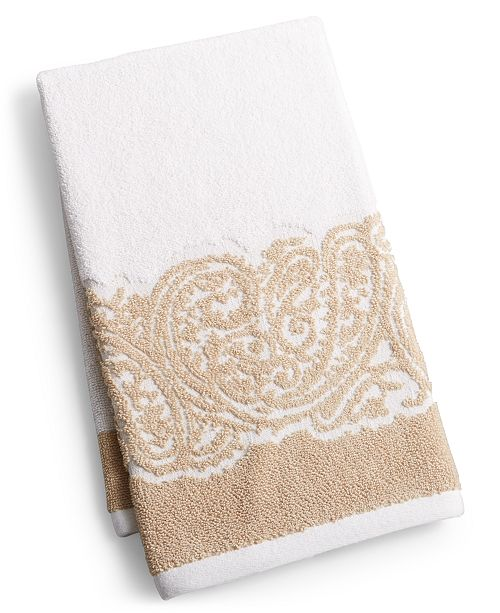 "Martex  Gianna Paisley Border Cotton 16"" x 28"" Hand Towel, Created for Macy's"