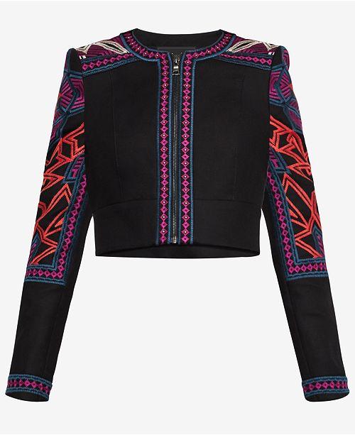 2e9d18b1e3 BCBGMAXAZRIA Embroidered Cropped Jacket & Reviews - BCBGMAXAZRIA ...