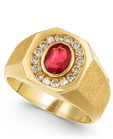 Men's Ruby (7/8 ct. t.w.) & Diamond (3/8 ct. t.w.) Ring in 14k Gold