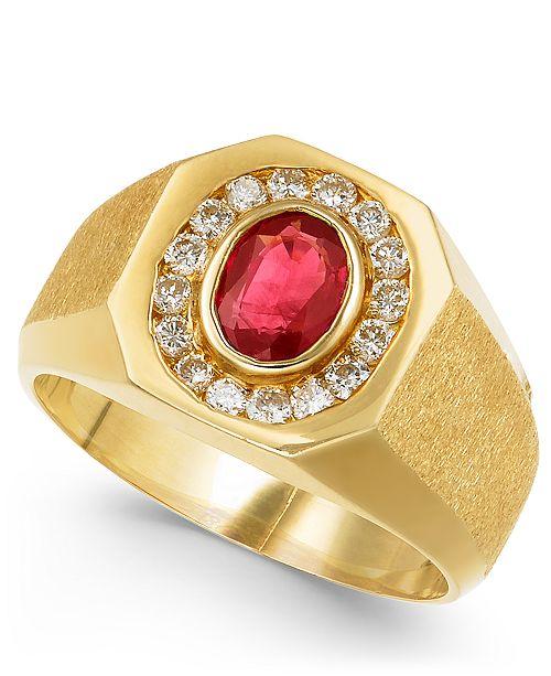 Macy's Men's Ruby (7/8 ct. t.w.) & Diamond (3/8 ct. t.w.) Ring in 14k Gold