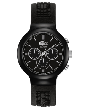 Lacoste L!Ve Watch, Men's Chronograph Borneo Black Silicone Strap 44mm 2010651