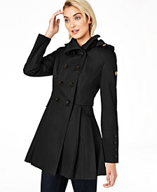 Calvin Klein Water Resistant Hooded Double-Breasted Skirted Raincoat