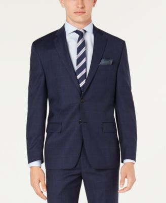 Men's Classic-Fit UltraFlex Stretch Blue Windowpane Plaid Suit Jacket