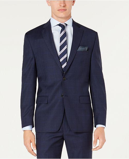 Lauren Ralph Lauren Men's Classic-Fit UltraFlex Stretch Blue Windowpane Plaid Suit Jacket