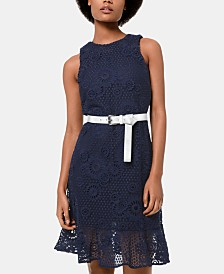 MICHAEL Michael Kors Lace Belted Dress