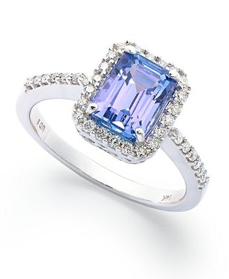 14k White Gold Ring Tanzanite 1 1 2 ct t w and Emerald Cut