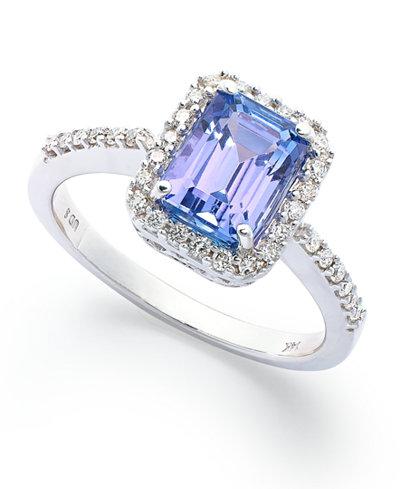 14k White Gold Ring, Tanzanite (1-1/2 ct. t.w.) and Emerald-Cut Diamond (1/4 ct. t.w.) Ring