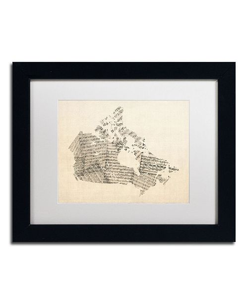 "Trademark Global Michael Tompsett 'Old Sheet Music Map of Canada' Matted Framed Art - 14"" x 11"""