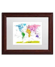 """Michael Tompsett 'World Map for Kids II' Matted Framed Art - 14"""" x 11"""""""