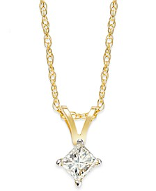 Princess-Cut Diamond Pendant Necklace in 10k Yellow or White Gold (1/4 ct. t.w.)