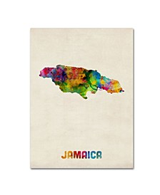 "Michael Tompsett 'Jamaica Watercolor Map' Canvas Art - 14"" x 19"""