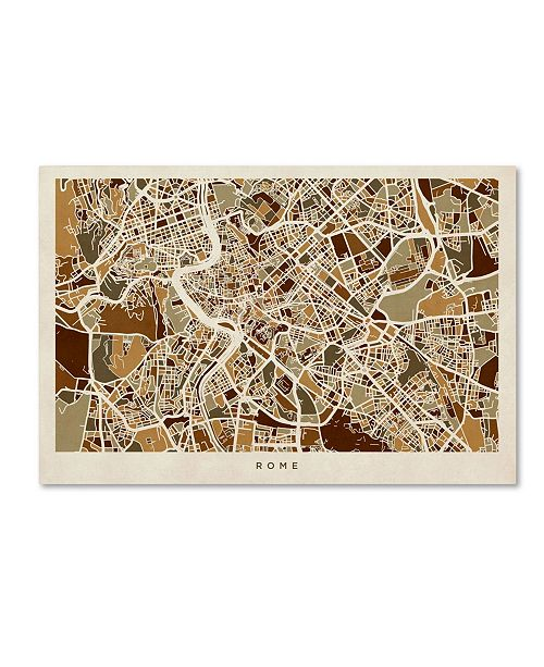 "Trademark Global Michael Tompsett 'Rome Italy Street Map' Canvas Art - 12"" x 19"""
