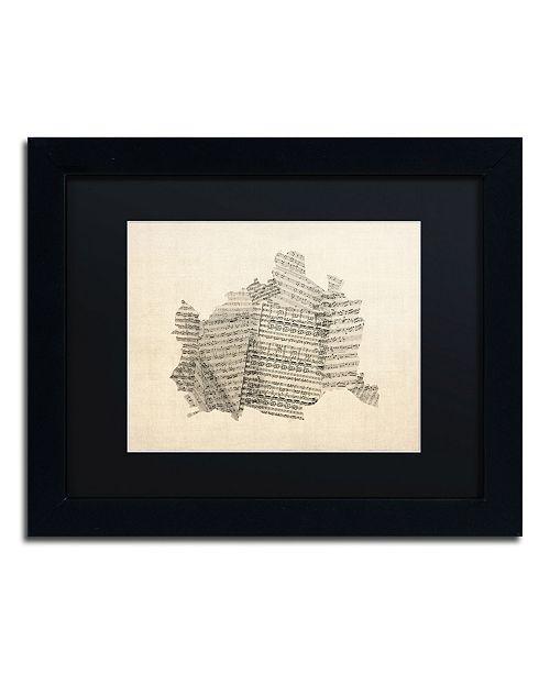 """Trademark Global Michael Tompsett 'Old Sheet Music Map of Vienna' Matted Framed Art - 11"""" x 14"""""""