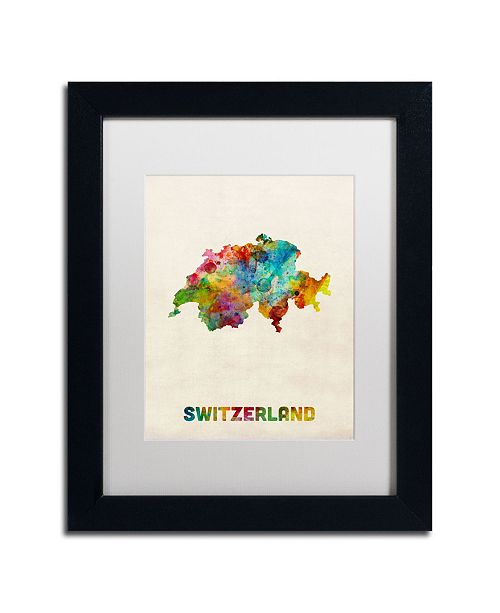 "Trademark Global Michael Tompsett 'Switzerland Watercolor Map' Matted Framed Art - 11"" x 14"""