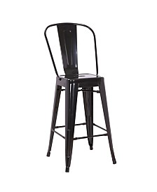 AC Pacific Farmhouse Gloss Metal Dining Room Kitchen Barstool, Set of 2